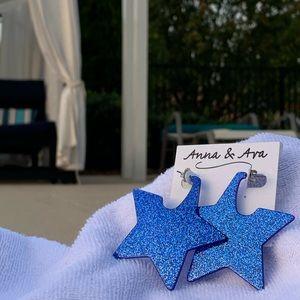 Anna & Ava Big BLUE GLITTER Stars Post Earrings!